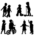 Couples of children silhouette vector image vector image