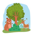 cute animals bear with reindeer and bees tree bush vector image vector image