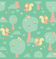 cute kids pattern squirrels and birds in a forest vector image