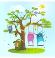Cute summer animals freinds playing under the tree vector image vector image