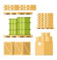 delivery equipment box barrel pallet tray set vector image