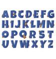 denim font jeans textile english alphabet comic vector image