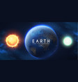 earth moon and sun in univerce realistic planets vector image
