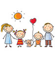 family with two children and a puppy vector image vector image