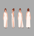 fashionable woman in stylish evening maxi dress vector image