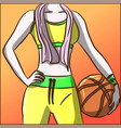 fit woman in neon tracksuit with a basketball vector image vector image