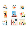 fitness home activity sport exercises stretching vector image