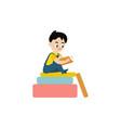 flat boy reading sitting at big book vector image vector image