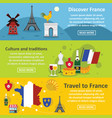 france travel banner horizontal set flat style vector image vector image
