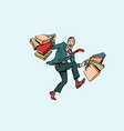 funny man with shopping on sale vector image