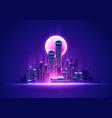 futuristic neon glow skyline retro cyber cityscape vector image