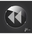 Glass button icon on metal background vector image vector image