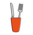 glass with cutlery icon vector image vector image