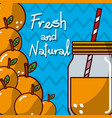 glassware jar juice orange fruit fresh and natural vector image