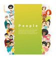 group young people standing behind empty board vector image vector image