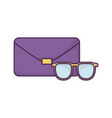 handbag and sunglasses icon on white background vector image vector image