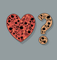 heart and question mark with black floral decor vector image