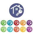House key icons colored set vector image