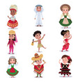 kids in traditional clothes of different countries vector image