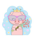 little pig princess with gold crown vector image