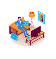 man booking hotel reservation isometric vector image