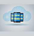 mobile phone and computer cloud vector image vector image