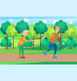 old people couple man and woman rolling in park vector image vector image
