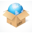 Opened cardboard box and globe isolated on white vector image vector image