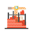 process of building a brick house vector image vector image