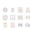 public transportation flat color line icons vector image