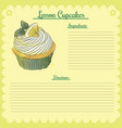 recipe lemon cupcake vector image vector image