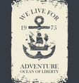 Retro travel banner with anchor and sailing ship