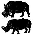 rhino silhouette set three vector image vector image