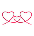 ribbon red three heart isolated on white vector image vector image