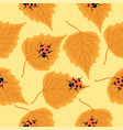 seamless pattern with ladybugs and birch leaves vector image
