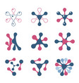 set of abstract logos blue and pink collection of vector image vector image