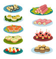 set of different snacks delicious food for vector image vector image