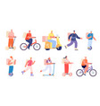 smart food delivery courier on bike man woman vector image