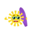 Smiling sun wearing sunglasses and holding surf vector image