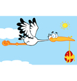 Stork Flying An Easter Egg vector image vector image
