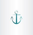 stylized anchor icon design vector image vector image
