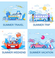 tourism and summer travel flat cartoon promo set vector image