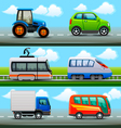 transport icons on road vector image vector image