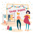 two young girls at fashion swap party exchange vector image vector image