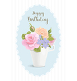 Vintage romantic card flowers in cup vector image vector image