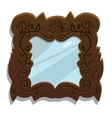 Vintage wooden mirror with floral patterns vector image