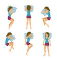 women sleeping positions vector image vector image