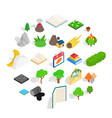 woody icons set isometric style vector image vector image