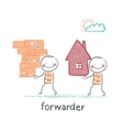 forwarder carries a box with the goods and home vector image