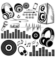 Set of sketchy music symbols and icons vector image